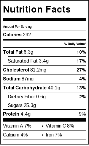 Lemon Bar Nutrition Information