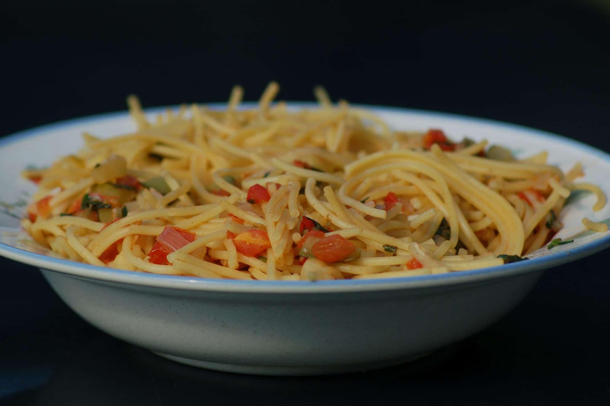 Zucchini, Tomato, Onion Pasta