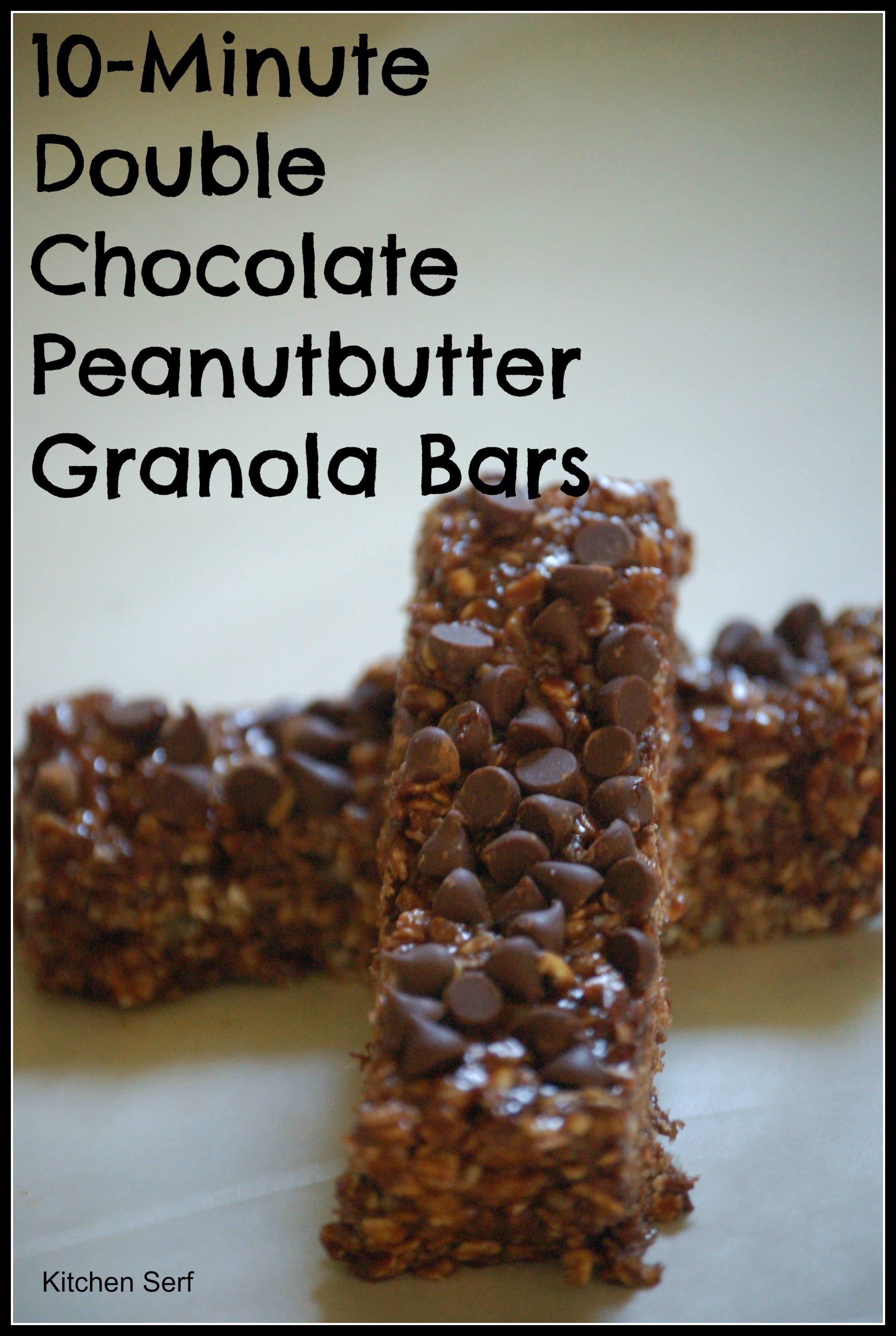 Ten-Minute Double Chocolate Peanutbutter Granola Bars