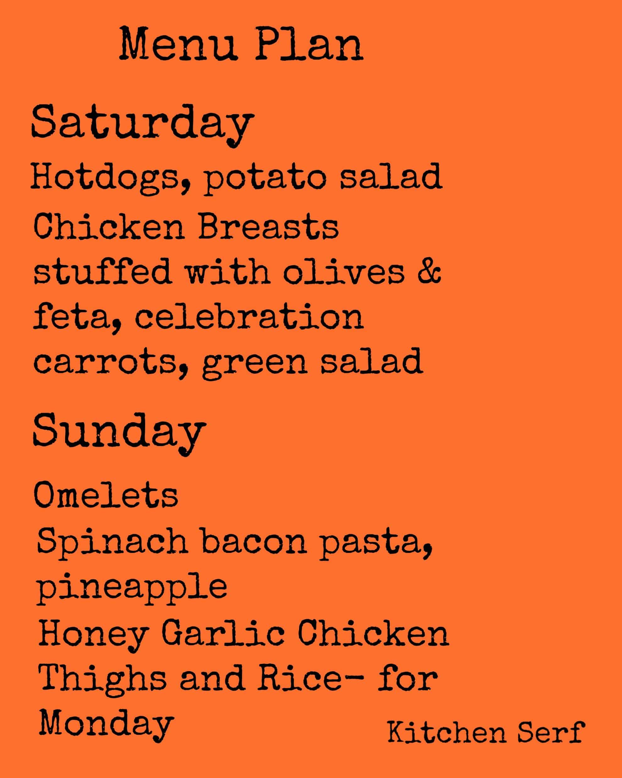 Weekend Menu Plan Nov. 1-2