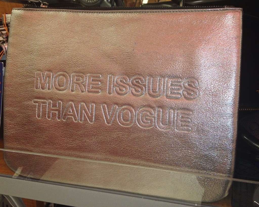 "So I spied this super cute ""More Issues Than Vogue"" Silver Clutch at T. J. Maxx last week but I left it on the shelf even though it was super marked down. You Maxxinistas out there would disown me for not buying it if you knew the clearance sale price. However, I believe very strongly in the power of words and I believe they affect us far more than we realize. So even though this purse is a joke, I have enough issues as is, I don't want to have more issues than Vogue. Feel free to laugh at me for this, I have thick skins :)"