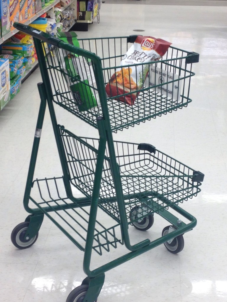 Nearly every store I shop at now offers petite shopping carts which are so much easier for the height-challenged among us to use.