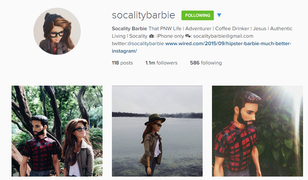Socality Barbie is a must for every instagrammer tired of the hipstagrammer posts.