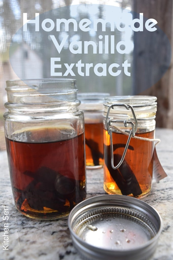 This is how your homemade vanilla extract will look after a week. Let it steep to perfection for seven more weeks.