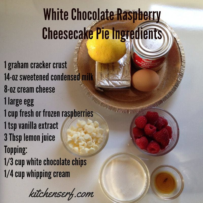 White Chocolate Raspberry Cheesecake requires nine ingredients, most of which I'm sure you have in the pantry.