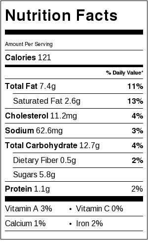 Nutrition information for the best cookies.