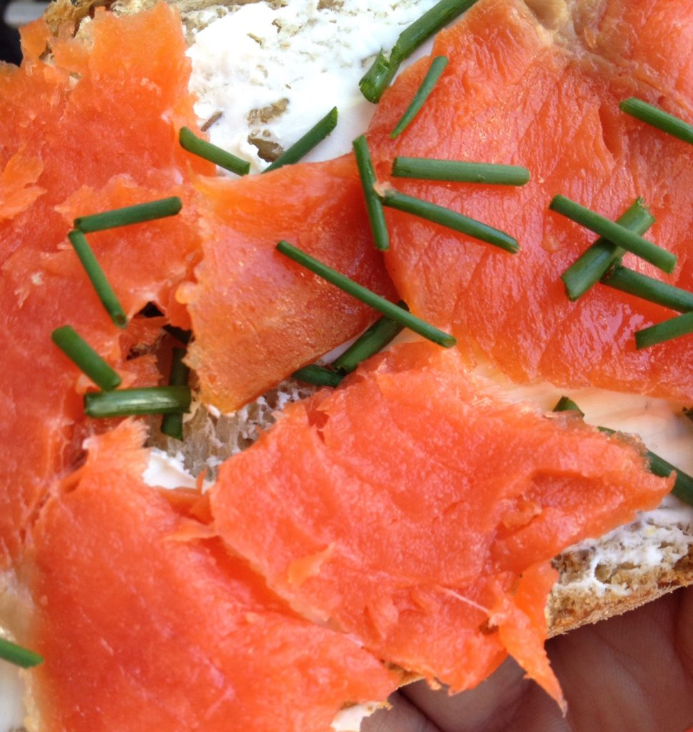 Heaven tastes like wild Maine smoked salmon on toasted whole grain bread with cream cheese and fresh chives.