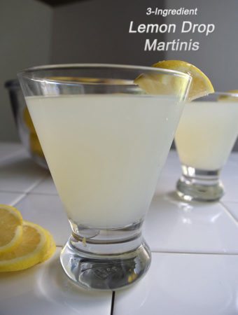 Lemon drop martinis , tart but sweet, take just three ingredients: lemon vodka, limoncello and lemonade..
