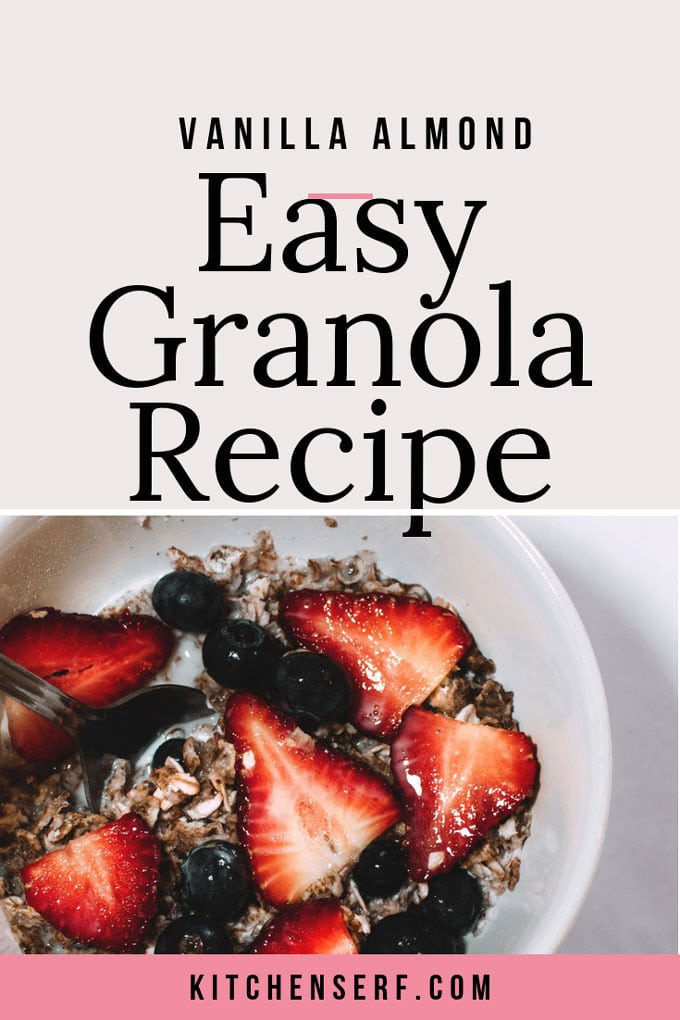 Easy Vanilla Almond Granola does double duty at our house for quick breakfasts and healthy snacks. If you haven't made your own granola yet, you must give it a try. Homemade granola is so easy and tastes better and costs much less than buying premade granola. You control the ingredients. Plus, it takes just a few minutes of actual hands-on time! #easyrecipe #granola #healthysnacks