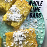 Chewy Whole Lime Bars are tangy and so rich they're best sliced into one-inch rectangles. An entire lime plus a half cup of lime juice and a teaspoon of zest are packed into these bars.