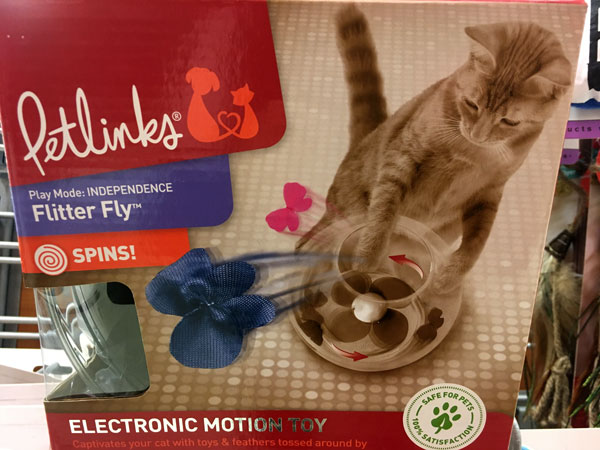 Speaking of critters, I spied this electronic cat toy at T.J. Maxx. My cats are low tech--their favorite toy is a cat dancer,, which we play with them or we tie onto a door handle and they chase around. Plus, we have one cat who's a bit schizy and gets agitated when she encounters something new.