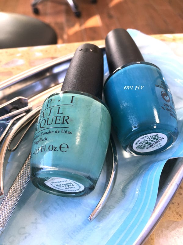OPI Fly, the blue on the right, went on my toes while the green on the left, OPI, My Dogsled Is My Hybrid went on my toes.