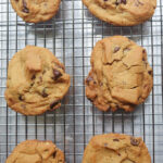 chocolate chip cookies on a silver baking tray