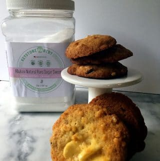 Orange White Chocolate Pistachio Cookies Using Allulose Sweetener