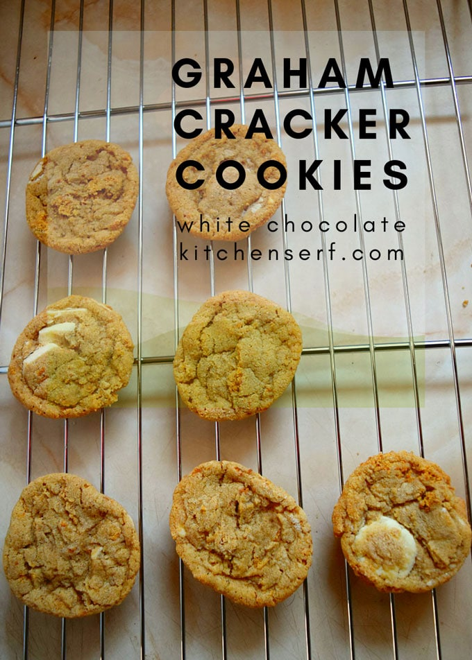 Graham Cracker and White Chocolate Cookies include crushed cinnamon graham crackers and white chocolate disks for an easy drop cookie.
